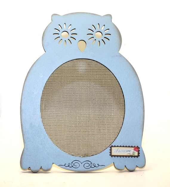 owl earring holder wood frame jewelry stand light blue by
