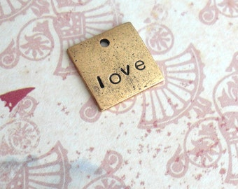 Mini Square Charm . Perfect Addition to your necklace . Heart, Sweet, Monogram, Couples, Initial, Birthdate, Cute silver, copper, or gold