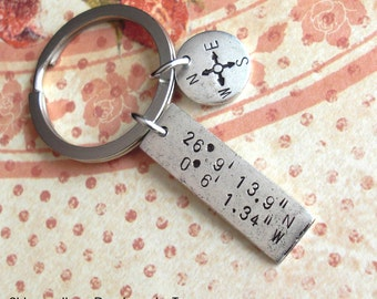 Double Charm Keychain . GPS Coordinates & Mini Compass . Hand Stamped . custom Lat/Long antiqued metal . Copper, Silver, Gold . Father's Day
