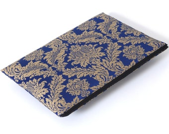 SALE! MacBook 13 Retina case sleeve cover upholstery fabric royal blue gold ornaments