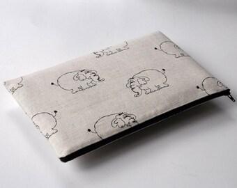SALE! Sleeve for Microsoft Surface Book, Asus ZenBook VX305 case, cover zipper bag linen fabric elephants