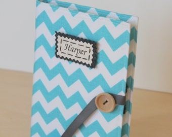 Mothers day gift personalized aqua chevron your choice of personalization photo album brag book multiple color options