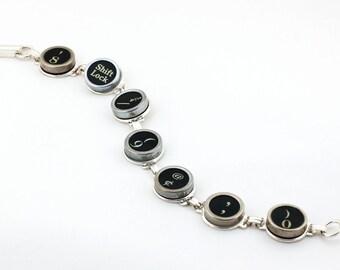 Antique Typewriter Key Bracelet - Random Black Keys