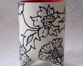 ceramic utensil holder  :) black & white RED kitchen decor