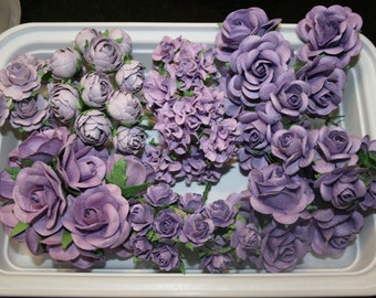 70 Beautiful shabby chic  Purple colored mulberry paper flowers and roses plus reusable plastic case