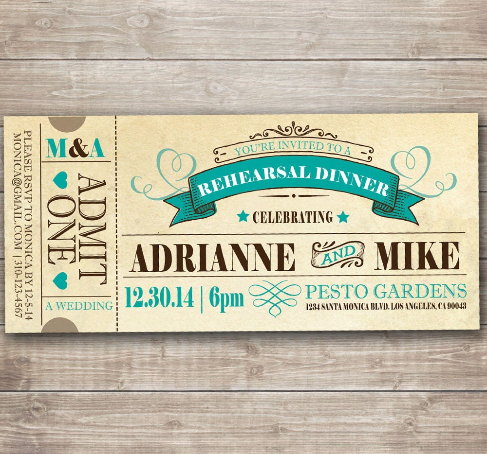 vintage fairytale rehearsal dinner invitation ticket pdf file for