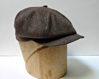 Men's Newsboy Cap in Vintage Brown Herringbone Wool - Made to Order - 3 WEEKS TO SHIP