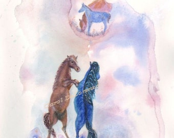 Watercolor Painting, Horse Art, Horse Painting, Horse Watercolor, Wild Horses, Print Of Original Watercolor Titled Stallion Protector