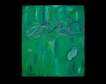Modern Abstract Original Oil Painting Green Contemporary Industrial 30 x 34 x 1.5 - Dreams Of Spring