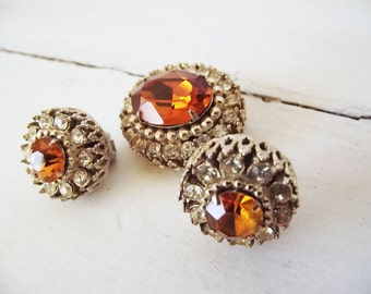 Vintage Signed Coro Demi Parure - Brooch and Earrings - Topaz Citrine and Rhinestone