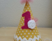 Pink and Yellow 1st Birthday Party Hat