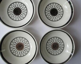 Vintage Cereal Bowls Royal Cavalier Casa Del Sol Black Brown Mod Set of Four