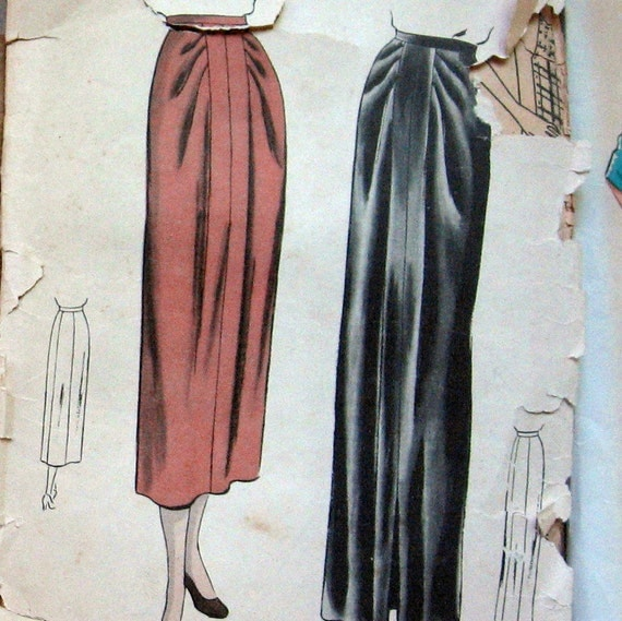 Vintage Vogue Womens Long Skirt Pattern With Unique Front