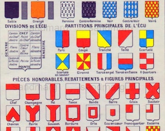 1952 French Chart of Coat of Arms and Crests of Major French Cities Larousse Illustre