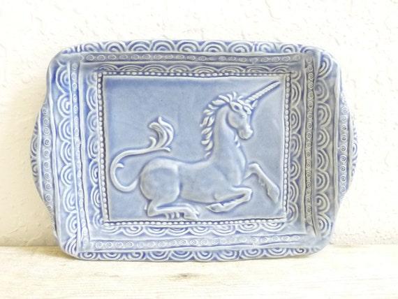Tray Unicorn Hand-Built Ceramic Dish Fantasy Mystical Stoneware Pottery