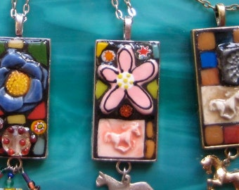 Mosaic Flower Power Pendant or Key Chain With a Pink Flower Tiles Milliflori with a Silver Colored MexicanHorse Dangle