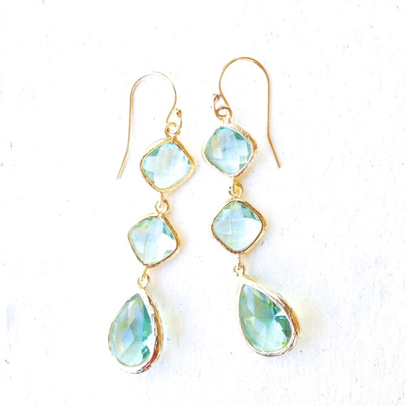 TenThings. CATALINA. green amethyst. gold. earrings.