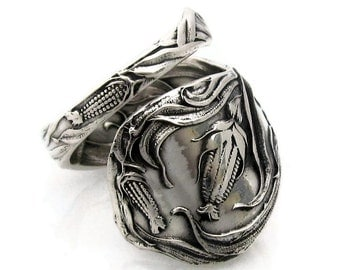 Spoon Ring Size 6 - 10 King Corn Sterling Silver