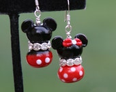 Magical Couple Disney Inspired One Mickey and One Minnie Mouse Lampwork DeSIGNeR EaRRiNgs