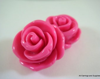 2 Fuchsia Resin Cabochon Beads Pink Rose 24mm - No Holes - 2 pc - CA2011-F2-AG