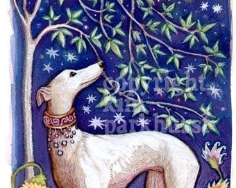 Toadbriar's Greyhound Dog Moon Stars Whippet Signed Art Print