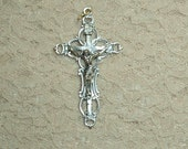 Ornate Open Loop Rosary Crucifix Pendant Rosary Making Parts Supplies Jesus
