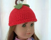 Crochet Doll Hat  Delicious Red Apple Fits American Girl Doll