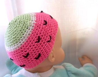 Crochet Doll Hat Summer Watermelon Fruit Fits 18 inch doll or baby doll