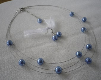 SALE Three Stranded Cornflower Blue Floating Pearls Necklace and Earrings Sets