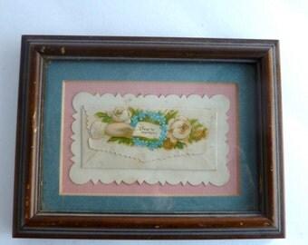 Vintage Valentine matted and framed - pink and blue