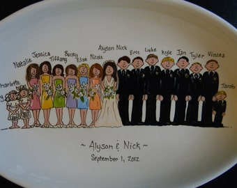 "Hand Painted 16"" Oval Ceramic Wedding Platter"