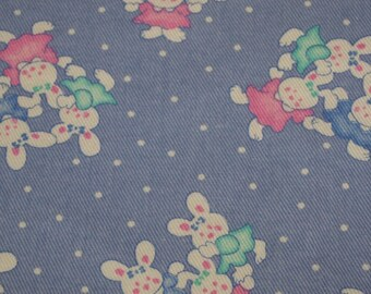 vintage 80s novelty print denim fabric, featuring cute bunny and polka dot  design, 1 yard, 17 inches