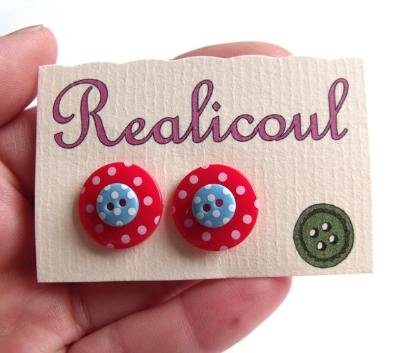 Button Earrings Cute Kitsch Polka Dot Spotty Red Blue Silver Button Earrings