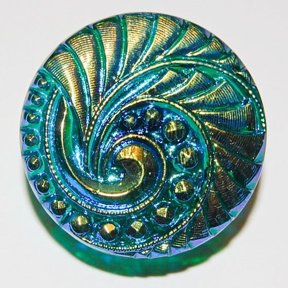Czech Glass Button; Teal and Gold Swirl with Brass Shank