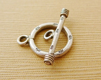 Sterling Silver Clasp, Round Toggle, Bali Silver, Antiqued Closure