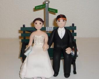 Cake topper - custom wedding topper bride and groom