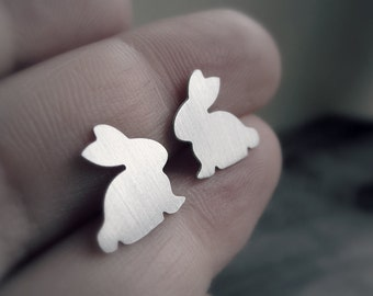 Bunny Rabbit Earrings Studs Hypoallergenic Steel