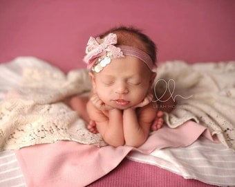 Thalia - Mauve Pink Cream Rosette Headband - Ivory Lace Fiber Yarn Tulle - Newborn Infant Baby Girl Toddler Adult
