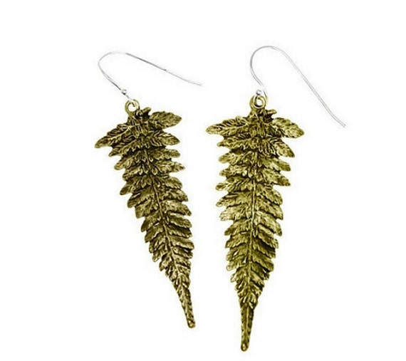 Leaf Earrings Gold Bronze Fern