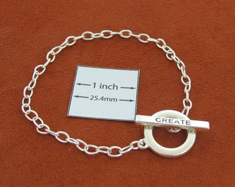 "Silver Metal Chain Bracelet with Toggle Clasp ""CREATE"", Just Add Charms or Dangles,  A065A"