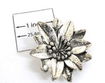 Antiqued Silver Metal 37 mm Flower pendant, 5 mm hidden loop on back, 1090-09