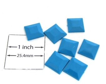 Turquoise Acrylic 12mm X 12mm Square Faceted Cabochon, Sold per 7 pc,  1041-41