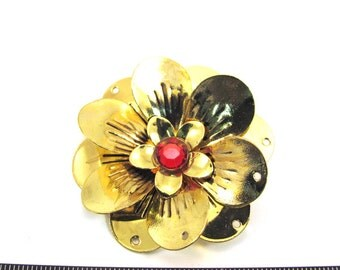 Antiqued Gold Metal  50mm 3D Flower Pendant/Connector with Red Center and 6 Petals Holes, 1091-25