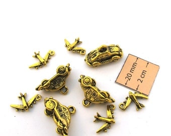 Antiqued Gold Metal Airplane and Car Charms Set of 9, 1091-27