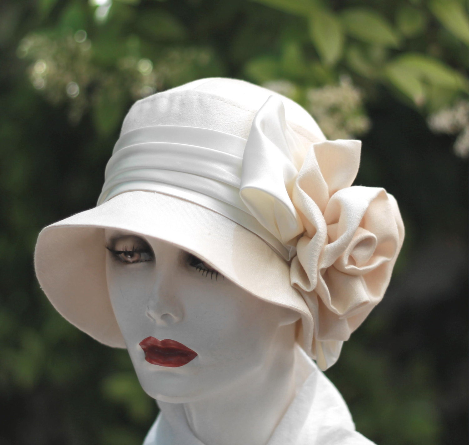 044238a0 ... 20s Hat Vintage Style Cloche Wedding Bridal Silk Lace And: Vintage Style  Womens Hat 1920's