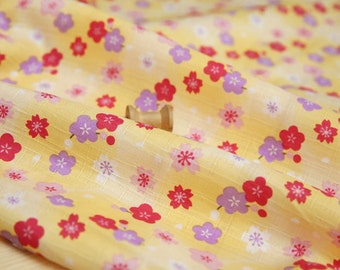 3193 - Japanese Kimono Cherry Blossom Floral Slubbed Cotton Fabric - 55 Inch (Width) x 1/2 Yard (Length)