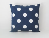 Pillow Cover Navy Polka Dots Decorative 22x22 Nautical Decor - BlossomPillowCo