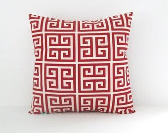 Greek Key Pillow Cover Red Pillow Decorative Pillow Accent Pillow