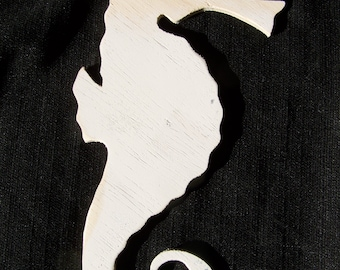 Seahorse Wood Cut-Out To Paint, Mosaic or Decoupage 10 Inches
