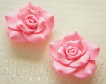 2 pcs Huge Polymer Clay Rose Cabochon (40mm) Pink FL326